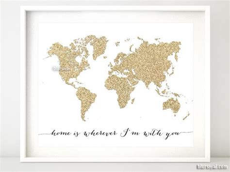 push pin map canvas gold glitter map featuring the quote home is