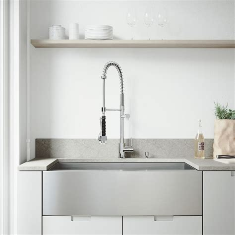 White Kitchen Sink With Stainless Steel Faucet by Vigo All In One Farmhouse Apron Front Stainless Steel 36