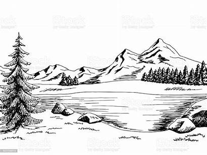 Mountain Lake Landscape Vector Graphic Illustration Drawing
