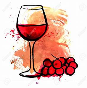 Vector drawing of red wine glass on watercolor texture ...
