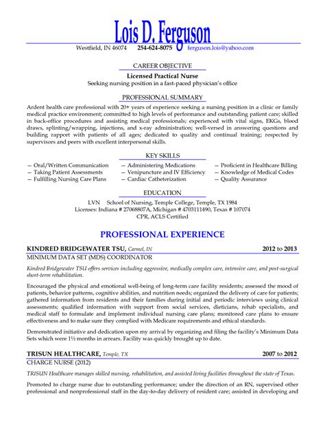 New Lpn Resume by Licensed Practical Seeking Nursing Position Resume Objective Sle Licensed Practical