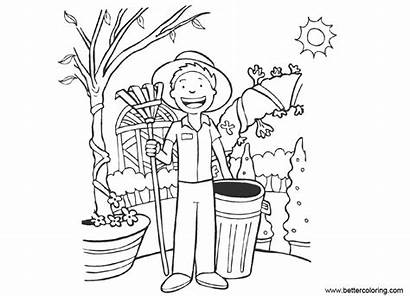 Coloring Garden Pages Tools Gardening Boy Printable