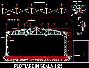Steel Roof Truss - Columns - Braces DWG Detail for AutoCAD