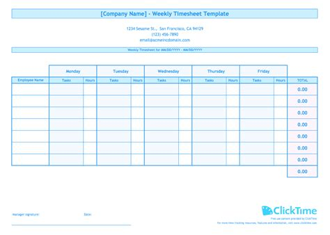 weekly timesheet template for multiple employees clicktime