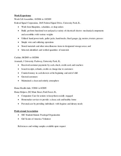 Mechanical Assembler Resume Objective by Paralegal Resume Chronological 2014
