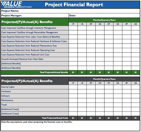 financial report template rod baxter value generation partners vblog