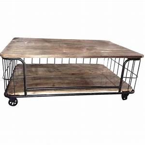Roue Industrielle Pour Table Basse : table basse bois forme cage industrielle sur roues ~ Nature-et-papiers.com Idées de Décoration