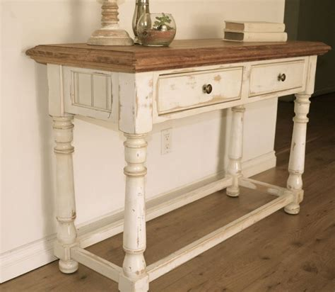 Farmhouse Style Console Table Distressed White Paint
