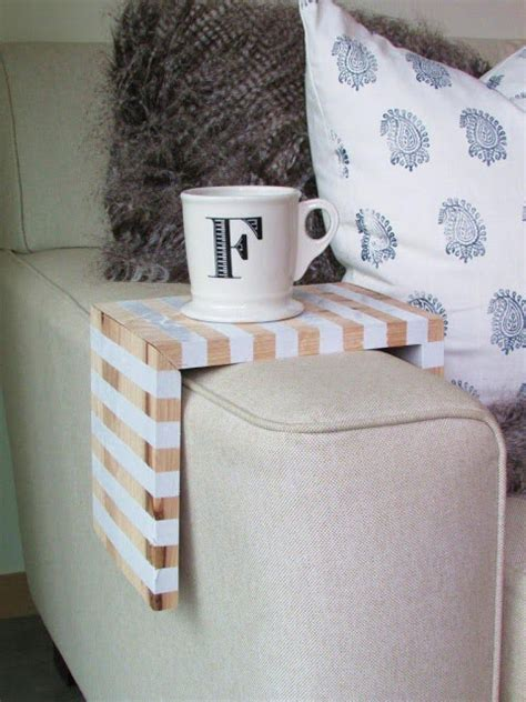 Find this pin and more on ☆ hometalk: Simple Striped Armchair Coffee Caddy in 2020   Diy living room decor, Diy apartment decor, Small ...