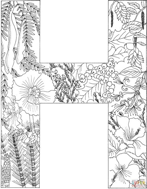 color h letter h with plants coloring page free printable