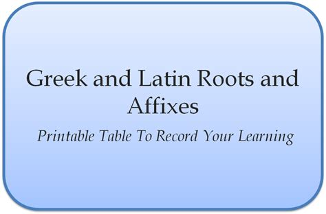 Greek & Latin Roots And Affixes  Empowering Parents To Teach