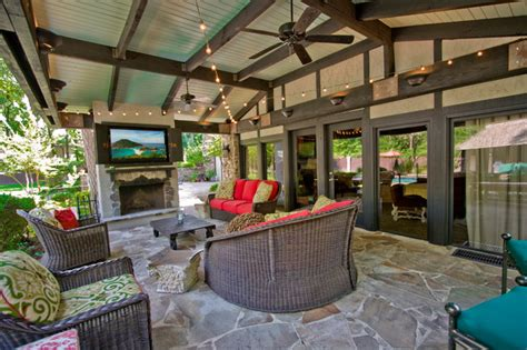cottage window treatments outdoor entertainment area traditional patio