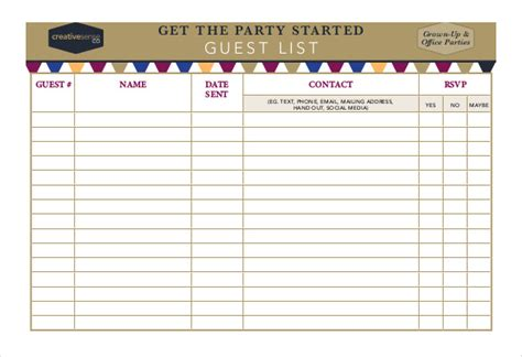 Rsvp List Template by 23 Birthday List Templates Free Sle Exle Format