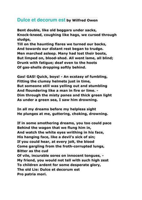 poetry introduction lesson dulce et decorum est by uk