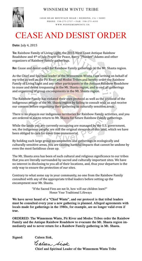 Winnemem Wintu Issue Cease & Desist Order To Rainbow Family