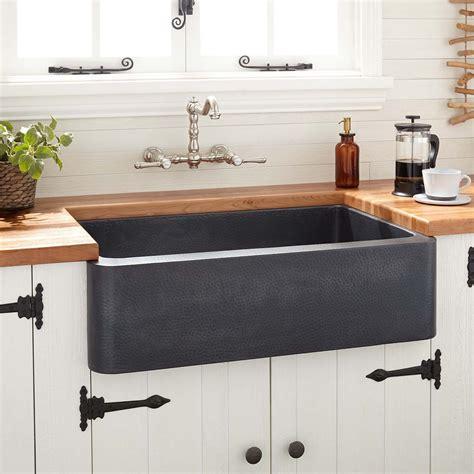 black farm sinks for kitchens 36 quot fiona hammered copper farmhouse sink antique black 7871