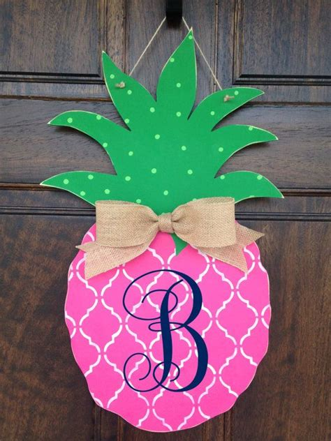 pink pineapple hand painted wooden door hanger  knockknockrva door wreath hanger summer