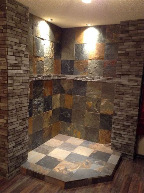 corner fireplace  finished  slate  ledger stone