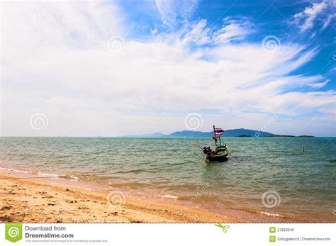 National Boat Flags by Boat With National Flag And Sea In Koh Samui