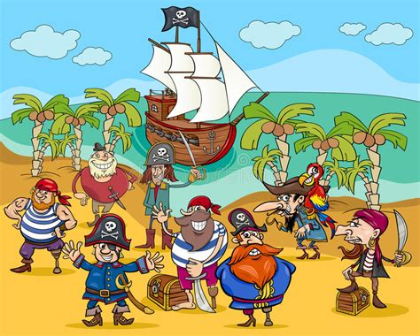 Pirates On Treasure Island Cartoon Stock Vector