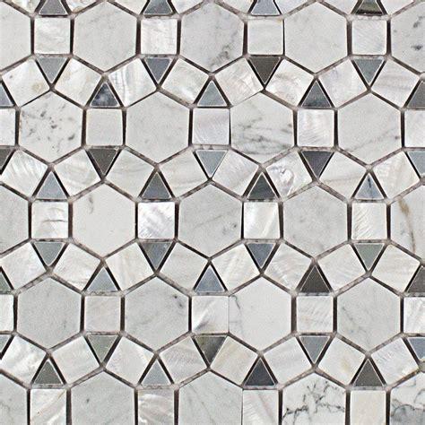 splashback tile noble hexagon pearl white and
