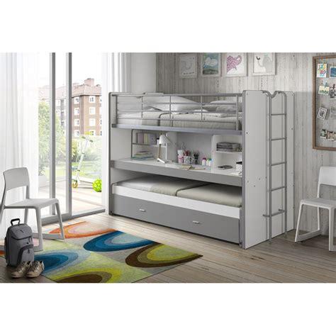 lit mezzanine 2 places avec canapé lit superposé enfant quot bonny quot gris