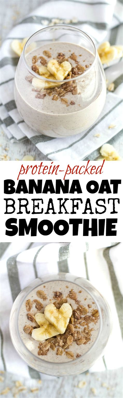 Banana Oat Breakfast Smoothie Running With Spoons