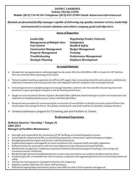 Maintenance Supervisor Cv Resume by Bongdaao Just Another Resume Exles