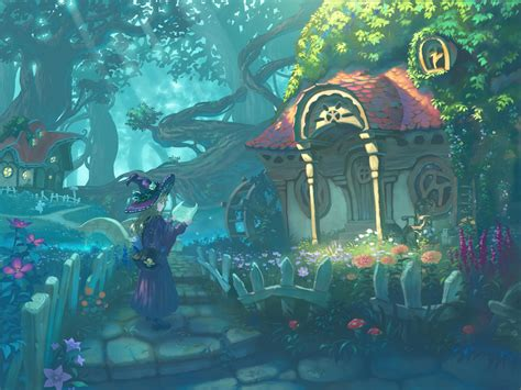 Anime House Wallpaper - wallpaper witch anime landscape colors forest