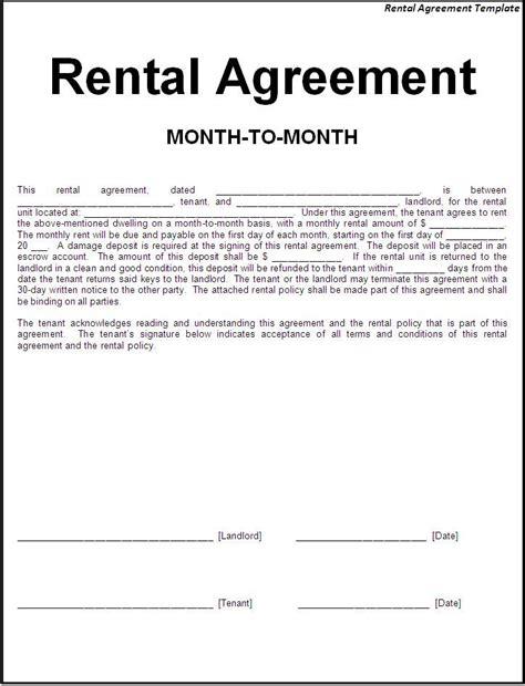 printable sample simple room rental agreement form room