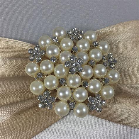 Pearl Brooch & Sash Embellished Silk Card For Wedding