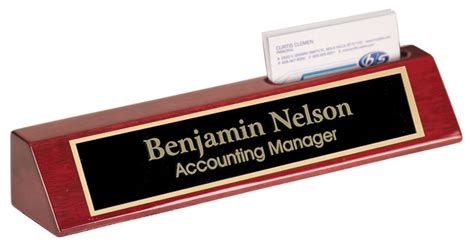 personalized business card holder for desk personalized rosewood name plate bar w business card