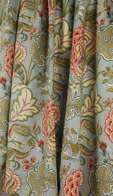 jacobean floral curtain fabric blue green rust jacobean floral drapery fabric