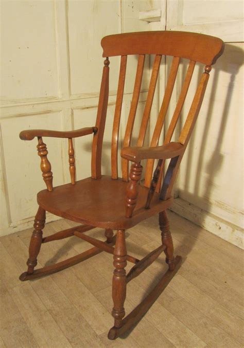 beech and elm slat back carver rocking chair
