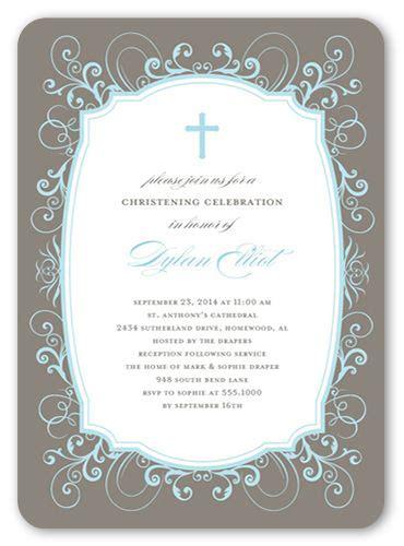flourished border boy  christening invitations
