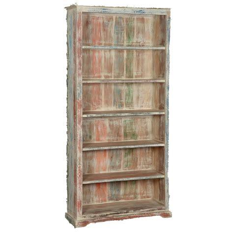 White Washed Reclaimed Wood 6 Shelf 785 Bookcase Open