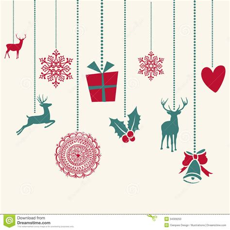 merry christmas hanging decoration elements compos stock vector image 34309250