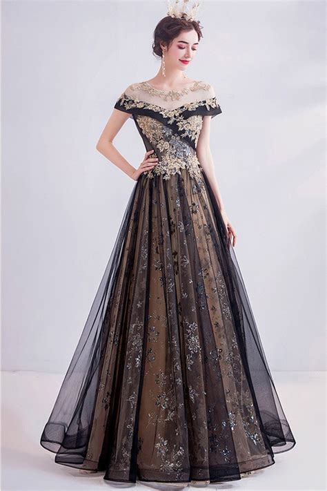 Noble Black With Gold Long Tulle Prom Dress With Illusion ...