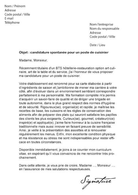 lettre de motivation cuisiner lettre de motivation cuisinier débutant modèle de lettre
