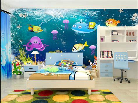 fresque chambre bébé papier peint fond marin personnalisé chambre d 39 enfant