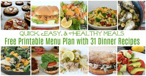 easy healthy quick meals  printable menu calendar