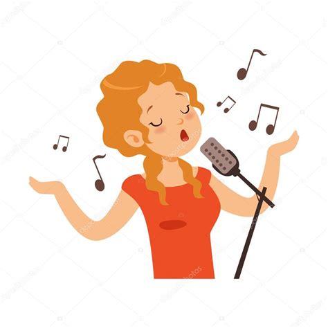 Animado: cantante dibujo Niña cantando con el micrófono