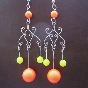 Shop Orange Chandelier Earrings on Wanelo