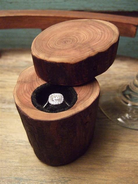 diy wedding engagement ring box made out of a tree branch photos huffpost