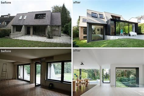 house renovation before and after before and after the renovation and extension of a flemish villa backyard modern and