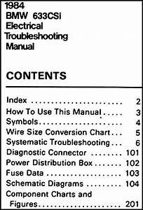 1984 Bmw 633csi Electrical Troubleshooting Manual