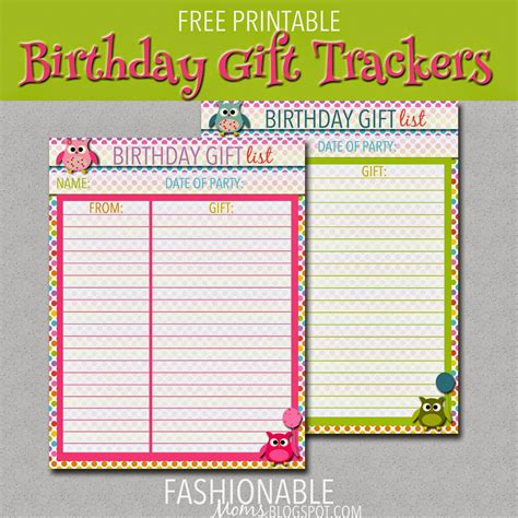 buying gifts tracker sheet my fashionable designs free printable birthday gift tracking sheets