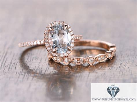Oval Cut Aquamarine  Ee  Diamond Ee   Pave Halo Engagement Ring
