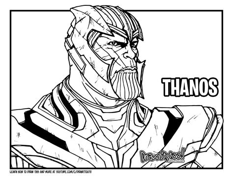 avengers endgame thanos coloring pages how to draw thanos avengers endgame drawing tutorial
