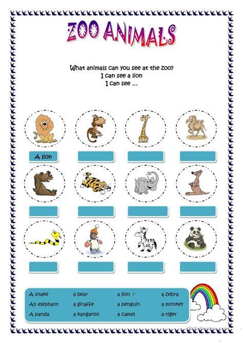 zoo animals worksheet  esl printable worksheets